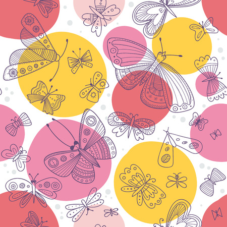 Butterflies seamless pattern in Boho style with ornaments. Can be printed and used as wrapping paper, wallpaper, textile, fabric, etc.  イラスト・ベクター素材