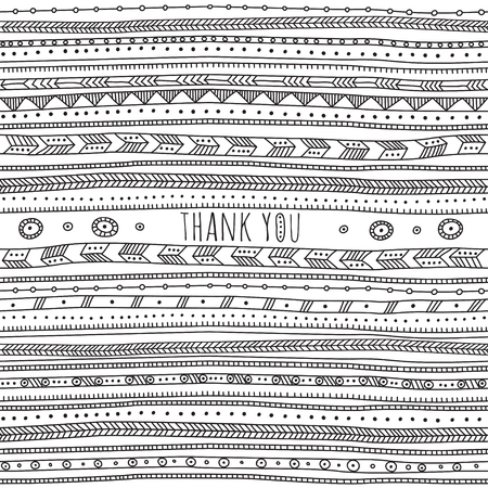 Thank you card in ethnic boho ornate style. Can be used and printed as card, poster, template, placard, textile. Иллюстрация