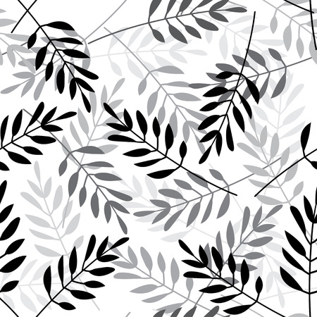 Vector seamless pattern with leaves on white background. Can be printed and used as wrapping paper, wallpaper, textile, fabric etc.