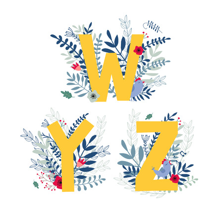 Alphabet,  letter w, y, z set  in floral design with flowers and plants. Vector colorful ABC element.