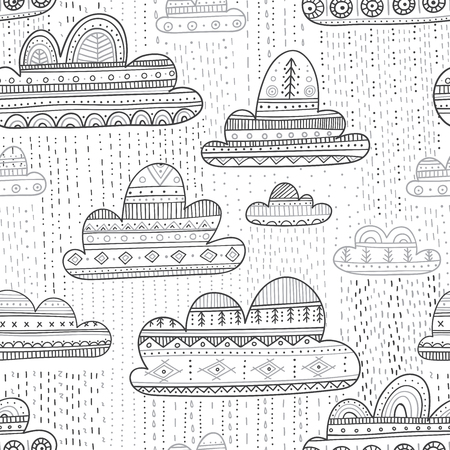 Lovely vector seamless pattern with rainy clouds in Boho style with ornament. Can be printed and used as wrapping paper, wallpaper, textile, fabric etc.