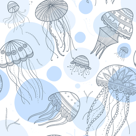Vector seamless pattern with jellyfishes in ethnic boho style with tribal ornaments. Can be printed and used as wrapping paper, wallpaper, textile, fabric, zen doodle etc.