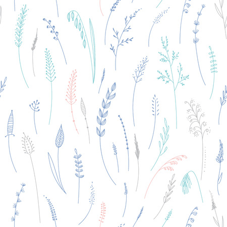 Vector seamless pattern of herbs, plants, flowers and leaves, cereals, grass. Can be printed and used as wrapping paper, wallpaper, textile, fabric, etc. Ilustração