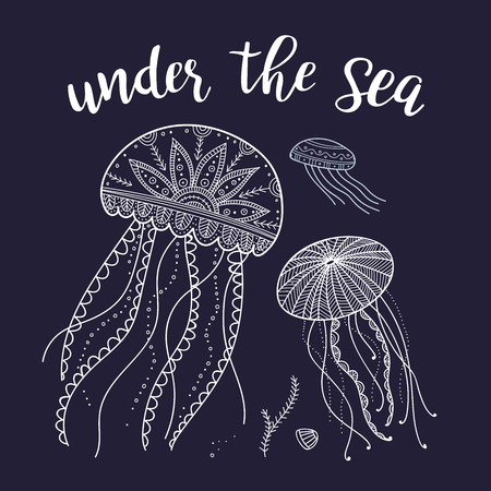 Under the sea greeting card with jellyfishes in ethnic Boho style. Can be printed and used as placard, invitation, banner, template, etc. Иллюстрация