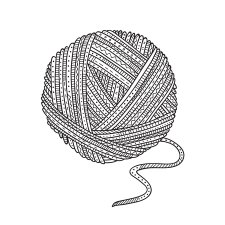 Vector illustration of ball of yarn in boho style. Can be used as a sticker, icon, design template, coloring Vetores