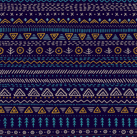 Vector seamless pattern with ethnic tribal hand-drawn trendy ornaments. Can be printed and used as wrapping paper, wallpaper, textile, fabric, etc. Иллюстрация