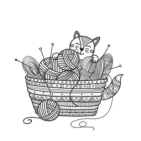 Vector illustration of cute cat with knitting basket of yarn ball. 일러스트