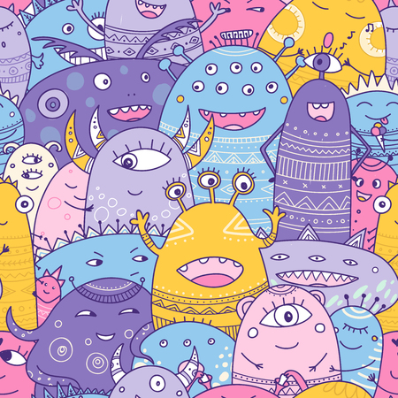 cute monsters crowd seamless pattern in boho style. Can be printed and used as wrapping paper, wallpaper, textile, fabric, etc. Фото со стока - 111672269