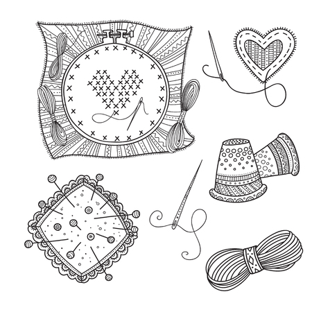 Embroidery vector set with tools and thread in boho style.