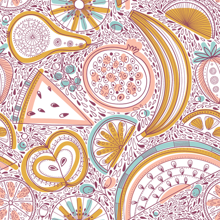 Vector seamless pattern illustration of nutrient-rich fruits in tribal, zen doodle boho style. Can be printed and used as raw, vegan and vegetarian design element, wrapping paper, wallpaper, textile, fabric, etc. Illustration