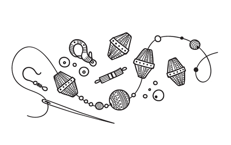 Vector illustration of hand made Jewelry process. 일러스트