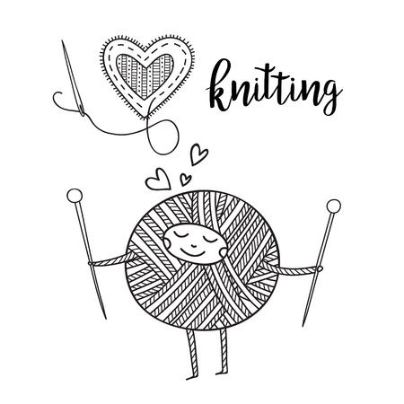 Vector knitting theme card with cute yarn ball character and lettering. . Can be printed and used as banner, card, placard, sticker, invitation, design template, label, coloring page