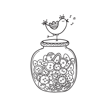 set of cloth buttons in jar with bird in boho style with ornament. Can be used as design template, element, sticker, logo, icon