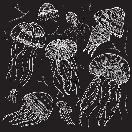 Vector set of jellyfishes in ethnic boho style with zen doodle and tangle elements. Can be used as design element template, etc.