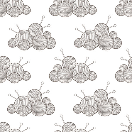 Vector seamless pattern with yarn balls. Can be printed and used as wrapping paper, wallpaper, textile, fabric, etc.