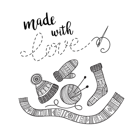 Vector card knitting theme with lettering and knitted clothes. Can be printed and used as banner, card, placard, sticker, invitation, design template, label, coloring page