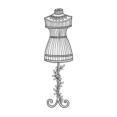 Illustrazione vettoriale di manichino per cucire. Vettoriali