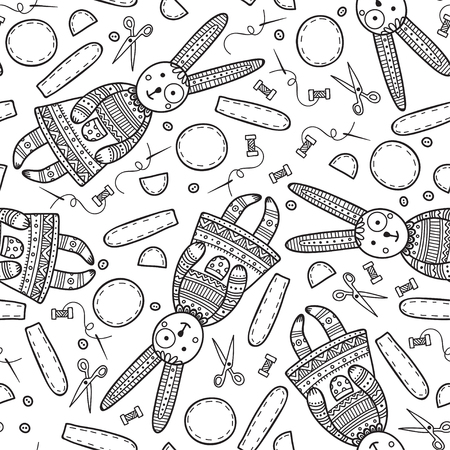 Vector seamless pattern with handmade sewing bunny with tools in boho style. Can be printed and used as wrapping paper, wallpaper, textile, fabric, etc. Иллюстрация