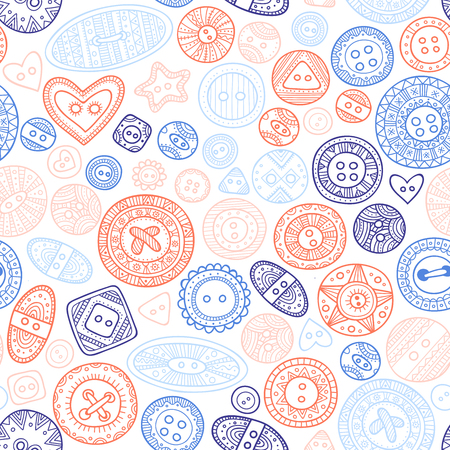 Vector seamless pattern with cloth buttons in boho style, sewing, needlework. Can be printed and used as wallpaper, wrapping paper, fabric, textile