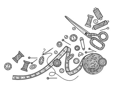 Illustration vectorielle de travaux d'aiguille, outils de couture. Vecteurs