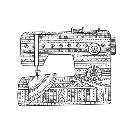 Vector illustration of sewing machine in boho style with ornament.