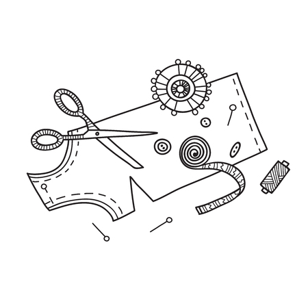 Vector illustration of needlework, sewing  tools.