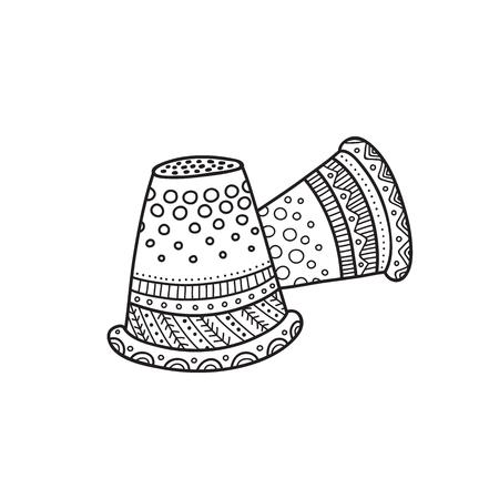 Vektorillustration des Fingerhutes im Boho-Stil.