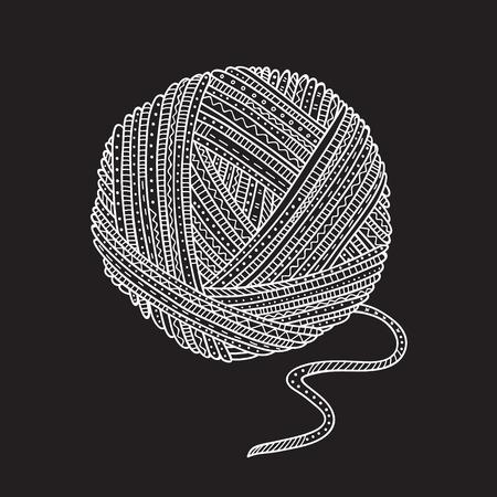 Ilustracja wektorowa piłkę przędzy w stylu boho. Może być używany jako naklejka, ikona, logo, szablon projektu