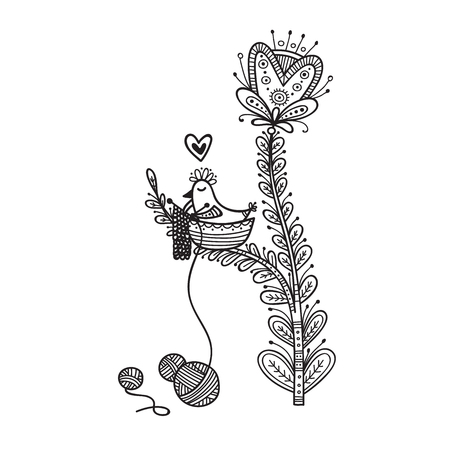 Illustration of cute bird in nest knitting in boho style . Can be used as a sticker, icon, logo, design template, coloring