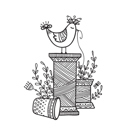 Vector illustration of thread spool and cute bird. Can be used as a sticker, icon, logo, design template, coloring page.
