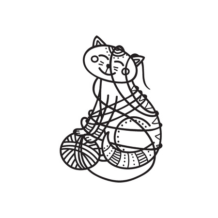 Vector illustration of cute cat playing with yarn  ball. Can be used as a sticker, icon, logo, design template, coloring