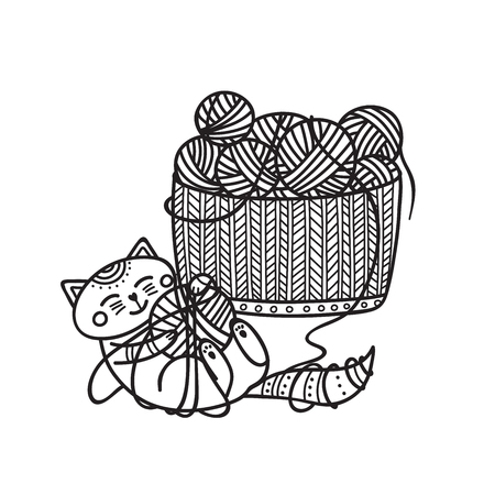 Vector illustration of cute cat playing with yarn ball and knitting basket coloring. Can be used as a sticker, icon, logo, design template, coloring