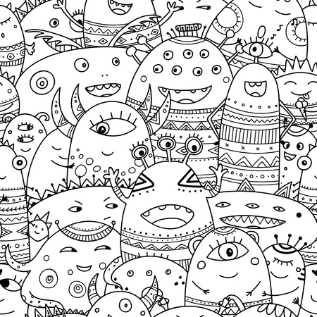 cute monsters crowd seamless pattern in boho style. Can be printed and used as wrapping paper, wallpaper, coloring, textile, fabric, etc.