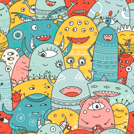 cute monsters crowd seamless pattern in boho style. Can be printed and used as wrapping paper, wallpaper, textile, fabric, etc. Иллюстрация