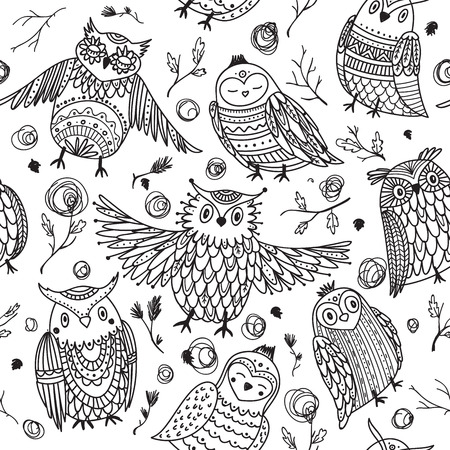 Cute owls seamless pattern in boho style with ornaments. Can be printed and used as wrapping paper, wallpaper, textile, coloring, fabric, etc.