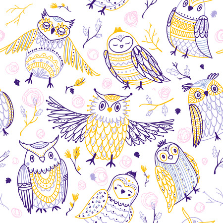 Cute owls seamless pattern in boho style with ornaments. Can be printed and used as wrapping paper, wallpaper, textile, fabric, etc. Иллюстрация