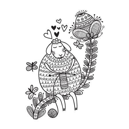 Ilustración de vector de oveja linda tejer con bola de hilo para colorear. Se puede utilizar como adhesivo, icono, logotipo, plantilla de diseño, página para colorear.
