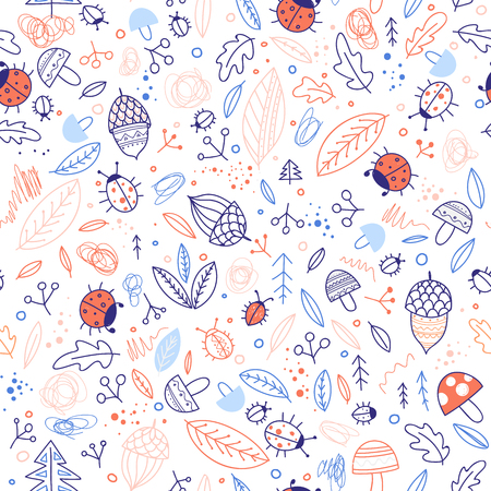 Cute forest elements vector seamless pattern. Can be printed and used as wrapping paper, wallpaper, textile, fabric, etc.