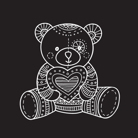 Vector illustration of handmade teddy bear toy. Can be used as a sticker, icon, logo, design template.