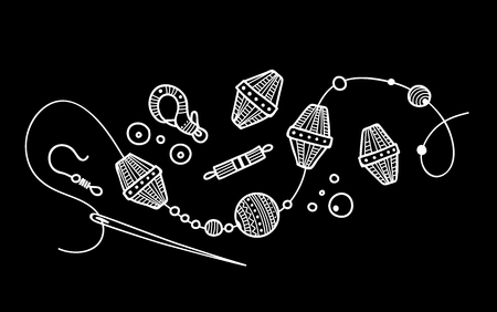 Illustrazione vettoriale del processo di gioielli fatti a mano. Può essere utilizzato come adesivo, icona, logo, modello di progettazione