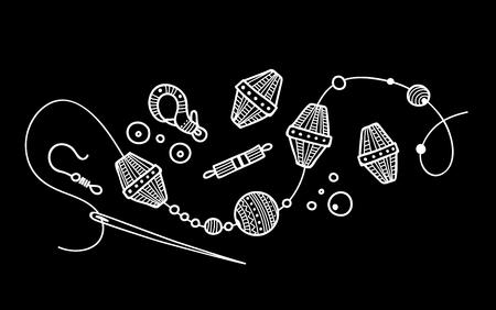 Vektorillustration des handgemachten Schmuckprozesses. Kann als Aufkleber, Symbol, Logo, Designvorlage verwendet werden
