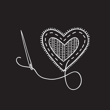 Vector sewing heart. Can be used as a sticker, icon, logo, design template,