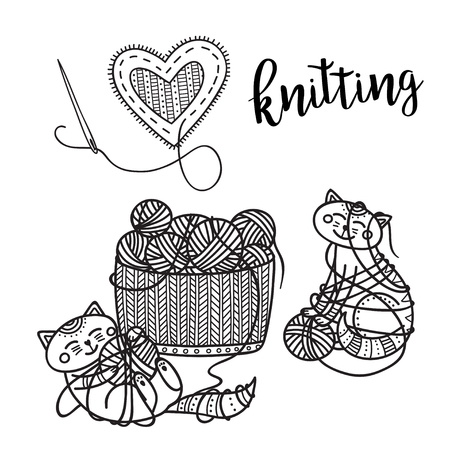 Vector knitting theme card with cute cat and lettering. . Can be printed and used as banner, card, placard, sticker, invitation, design template, label, coloring page