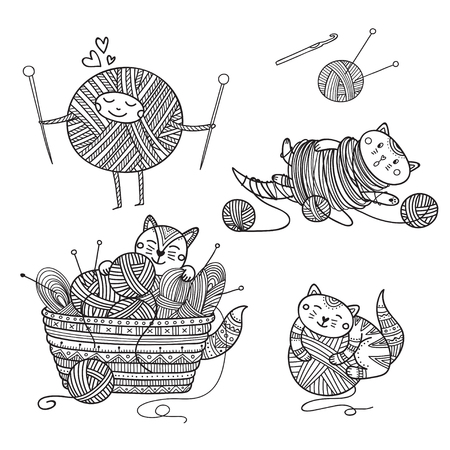 Vector set of cute cats playing with yarn ball coloring. Can be used as a sticker, icon, logo, design template, coloring page