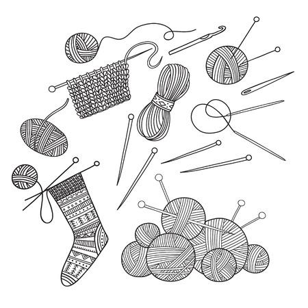 Conjunto de vector de hilo, ropa y herramientas de tejer. Se puede utilizar como adhesivo, icono, logotipo, plantilla de diseño, página para colorear.