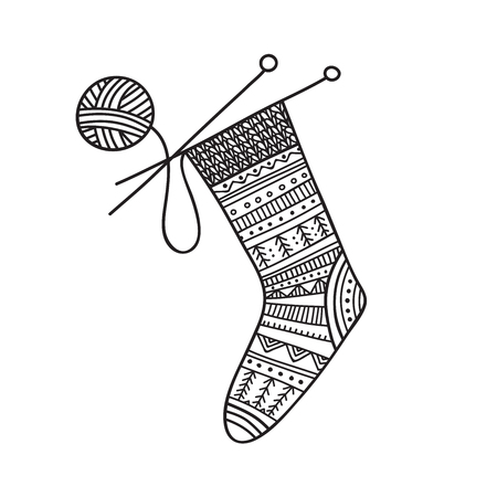 Vector illustration of knitted sock and ball of yarn with needles. Can be used as a sticker, icon, logo, design template, coloring page Иллюстрация