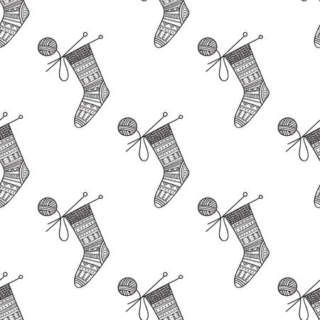 Patrón transparente de vector con calcetín de punto y ovillo de hilo con agujas. Puede imprimirse y utilizarse como papel de regalo, papel tapiz, textil, tela, página para colorear Ilustración de vector