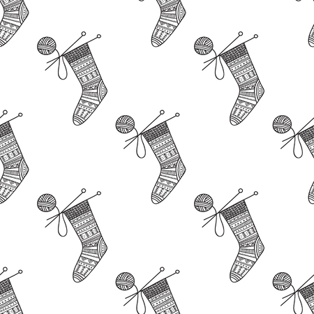 Vector seamless pattern with knitted sock and ball of yarn with needles. Can be printed and used as wrapping paper, wallpaper, textile, fabric, coloring page
