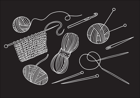 Vector set of knitting tools and yarn . Can be used as a sticker, icon, logo, design template, coloring page Иллюстрация