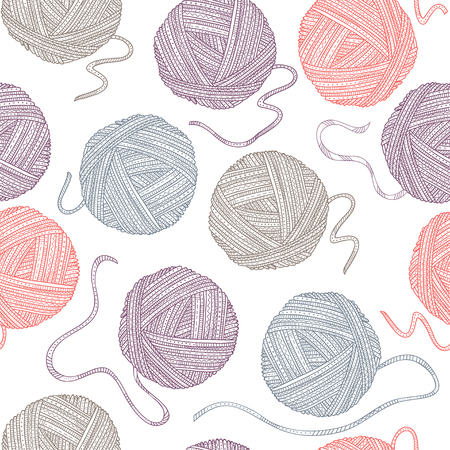Vector seamless pattern with yarn balls in boho style. Can be printed and used as wrapping paper, wallpaper, textile, fabric, etc.